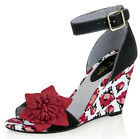 Ruby Shoo SKY Vintage TULIP Tulpen Flower 50s Riemchen WEDGES / Pumps Rockabilly