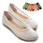 ollio Womens Ballet Shoes Floral Lace Breathable Flat