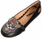 Banned BREAKING Sugar Skull Oldschool Flower Riemchen BALLERINAS Rockabilly