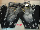 new mens jeans with studs crystal pockets denim pants straight size 32-42