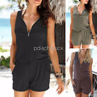 Women's Beach Casual V-neck Jumpsuit Fashion Sleeveless Zipper Slim Rompers