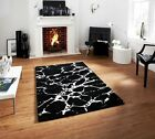 100% Easy Clean Quality Wool Mat Off White Black Splash Effect Contemporary Rugs