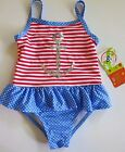 NWT Penelope Mack Toddler Girl's Red White Blue 1 Pc Swimsuit Anchor 2T/3T/4T