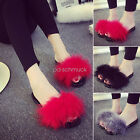 New Women's Fur Fluffy Marabou Mules Slip On Sandals Feather Sliders Slippers