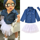 2pcs Toddler Kids Baby Girls Outfits Denim T-shirt Tops+dress Clothes Set Outfit