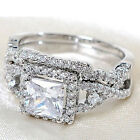 2Pcs Silver Plated Cubic Zircon Rings Set Crystal Solitaire Accents Hot Cool