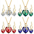 HUCHE Gold Filled Heart Sapphire Emerald Crystal Lady Jewelry Necklace Earrings
