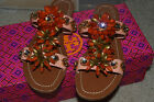 NEW TORY BURCH Sandals Flats Shoes Gemstones Floral Beaded 5.5 $295 Multi-color