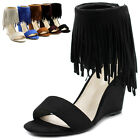 ollio Womens Shoes Fringe High Heel Wedge Sandal
