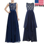 US Women Elegant Long Chiffon Prom Gown Bridesmaid Cocktail Party Evening Dress