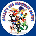 DC SUPER HERO GIRLS PERSONALISED GLOSS BIRTHDAY PARTY BAG, SWEET CONE STICKERS