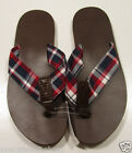 Brooks Brothers Men's Madras Thong Flip Flop Chocolate Brown Sandals