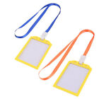 Office Staff Neck String Lanyard Vertical Badge ID Card Holder Case 10pcs