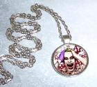 Joker Jerad Leto DC Suicide Squad Inspired Silver Glass Dome Pendant Necklace