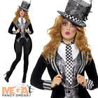 Deluxe Dark Mad Hatter Ladies Fancy Dress Wonderland Halloween Adults Costume