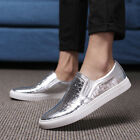 Men's Gold Silver Flat Loafers Slip On Casual Skateboard Fashion Shoes New