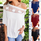 UK Sexy Womens Casual Off Shoulder Blouse Top Summer T-Shirt Beach Tops Blouses
