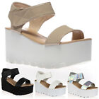 20J WOMENS LADIES CLEATED SOLE FLATFORM CHUNKY HEEL WEDGE SANDALS SHOES SIZE 3-8