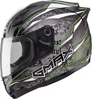 Gmax GM69 Mayhem Full Face Helmet Black/Silver/Hi-Vis Green