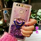 Bling Glitter Heart Water Dynamic Liquid Ring Stand  Case Cover for Smart phone