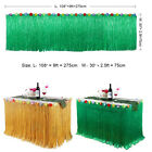 9ft Hibiscus Flowers Grass Table Skirt Tropical Hawaiian Luau Tiki Party Decor