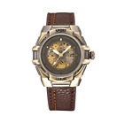 Vintage Skeleton Sports Men Mechanical Automatic Retro Bronze Watch Oversized