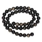 """U Pick Natural Gold Sheen Obsidian Gemstone Loose Round Beads 15.5"""" #GY1"""