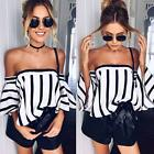 2017 Fashion Women Summer Tops T-shirt Casual Striped Printing Off Shoulder