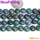 Coin Green Blue Lapis Lazuli Malachite Stone Beads For Jewelry Making Strand 15""