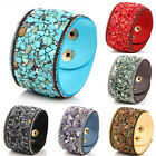 Women Punk Crystal Rhinestone Faux Leather Bracelet Bangle Wrap Wristband Cuff H