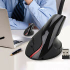 Vertical Upright Ergonomic Design Wireless Cordless 2400DPI Game Mouse Mice US