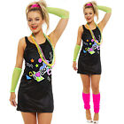Ladies I Love the 80s Dress 1980s Hen Festival Fancy Dress Costume UK 8-16