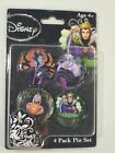 NEW DISNEY VILLAINS 4 PACK OF BUTTON PINS MALEFICENT URSULA SNOW WHITE QUEEN HAG