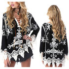 Fashion Women Ladies Lace Embroidery V Neck Long Sleeve Shirt Casual Blouse Tops