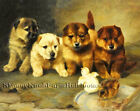 A Dispute ~ Puppies, Dogs, Baby Chickens, Lilian Cheviot ~ Cross Stitch Pattern