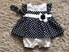 BABY GIRLS PRETTY NAVY BLUE SPOTTY 3 PIECE DRESS BLOOMERS & HEADBAND 0-3 3-6 6-9