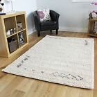 NEW CREAM TRIBAL MEDIUM LARGE THICK PLAIN SOFT SHAGGY RUGS NON SHED MODERN RUGS