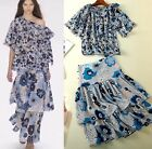Fashion Occident womens print flower jacket skirt suit temperament summer NEW