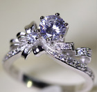 Elegant Women's Sliver Bownot Purple Crystals Rhinestone Frosted Ring Jewellery