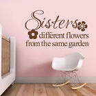 Inspirational Wall Sticker Sisters Different Flowers Quote Vinyl Baby Room Decor