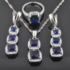 New Band Blue Sapphire White CZ 925 Sterling Silver Women Jewelry Sets QZ0422