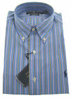 New POLO RALPH LAUREN Mens Classic Fit Blue Pink Stripe Cotton Dress Shirt $85
