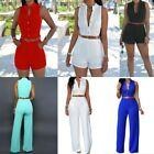Fashion Women Loose Slim Casual Rompers/Siamese Shorts Summer Solid Color Shirt
