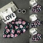 Girls LOVE Print Letter WhiteTank Vest Two Pieces Set Party Short Mini Dress