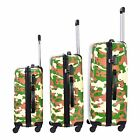 3pc Set Camo Camouflage Rolling Carry On Hard Shell Travel Suitcase Luggage Bag