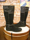Clarks Whistle Woven Black Suede Leather Strap Riding Boo...