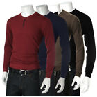 Men Casual Knitwear Pullover Slim Fit Long Sleeve Henley Jumpers Sweater Tee Top