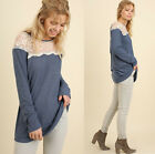 UMGEE Women's Casual Embroidered Lace Soft Knit Long Sleeve Tunic Top Blue Ivory