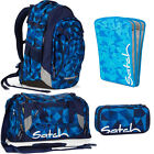 satch MATCH 4er Set Blue Crush Rucksack Schlamperbox Sporttasche Heftebox Blau