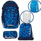 satch MATCH 5er Set Blue Crush Rucksack Schlamperbox Turnbeutel Styler Cape Blau